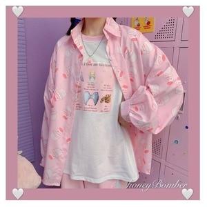 Deeptown Korean Style Blouse Women Vintage Kawaii Print Button Up Shirt Autumn Fashion 2020 Long Sleeve Cute Loose Women Shirts