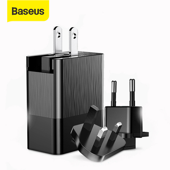 Baseus 3 Ports USB Charger 3 in 1 EU US UK Plug 2.4A Fast Charging Charger Travel Wall Charger Adapter for iPhone Samsung Xiaomi