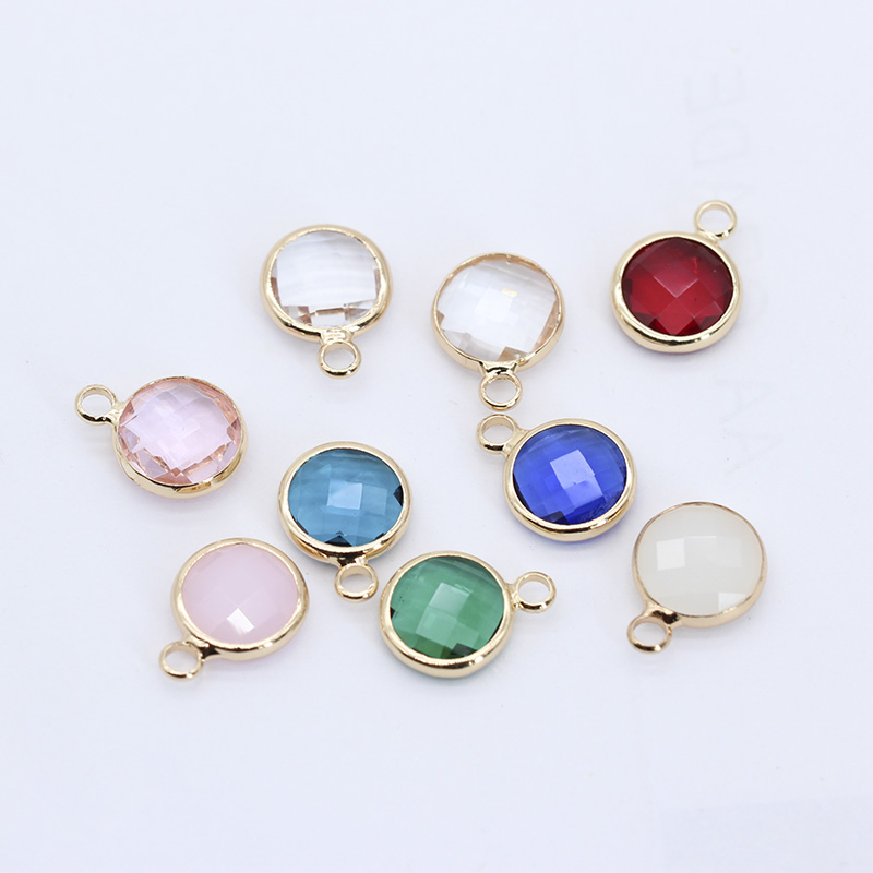 10mm Round Crystal Framed Glass Charms Pendants Connectors Earrings Necklace Findings Jewellery Dress Making Metal Loose beads