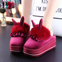 Cartoon Rabbit Ears Platform Slippers with Fur Winter Home Shoes Women Thick Soles Non-slip Warm Month Shoes Cute Plush Slippers(China)