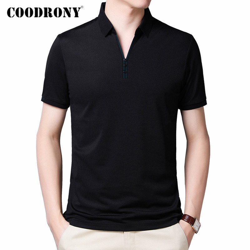 COODRONY 2020 Spring Summer Short Sleeve T Shirt Men Top Fashion Button Collar T-Shirt Men Clothes Cotton Tee Shirt Homme C5012S