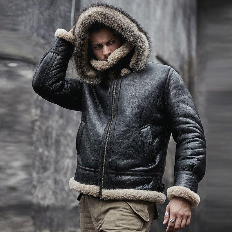 men genuine leather jacket man real original ecological sheepskin coat raccoon fur detachable hood winter jackets men genuine leather jacket man real original ecological sheepskin coat raccoon fur detachable hood winter jackets short design