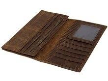 Maheuファッションヴィンテージ男性女性ロング財布財布クレジットカード内側ファスナー財布二つ折りクレイジー馬長財布男性女性財布