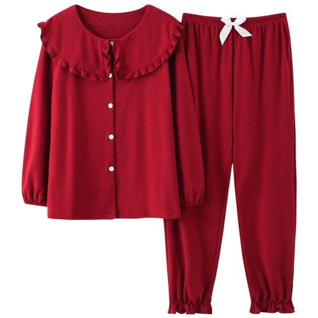Women Full Cotton Pajamas Wedding Festive Red Pajamas Sets Sleepwear Long Sleeve Top+Long Pants Pajamas Home Clothing Pyjamas