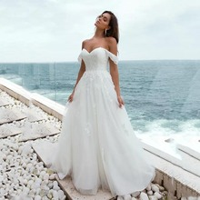 Eightree A-line Wedding Gown Off the Shoulder Lace Sleeves Beach Dress robe de soiree Up Appliques Bride Gowns