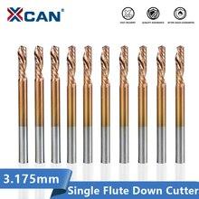 XCAN левой руке одиночная торцевая фреза каннелюры вниз резак 3.175 мм хвостовик Филируя резца фрезы с покрытием ticn покрывая торцевую фрезу карбида
