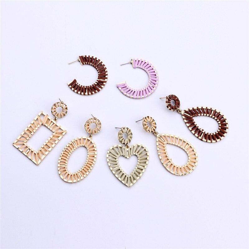 Bohemian Vintage Exaggerated Geometry Handmade Raffia Earrings Fashion Woman Accessories Jewelry 2019  Drop