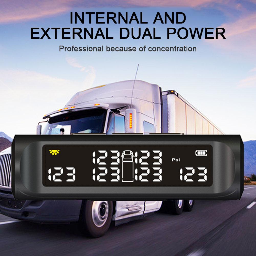 Truck Accessories Car TPMS Tire Pressure Alarm Monitoring 6PCS External Sensor LDC 8.0bar For Truck Van Lorry Solar Energy+USB