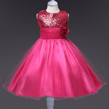 Hot Selling Baby Girls Flower Sequins Dress High Quality Party Princess Children Kids Clothes 10colors