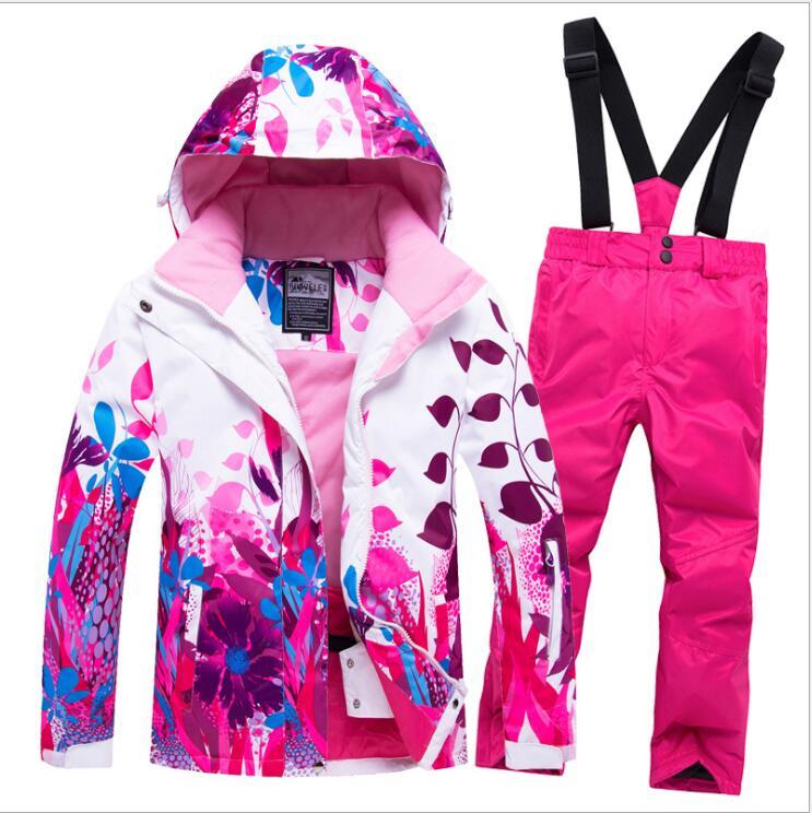 2019 Kids Ski Suit Snowboard Jacket Pant Girls Hooded Flower Windproof Waterproof Outdoor Sport Wear Ski Clothing Trouser New