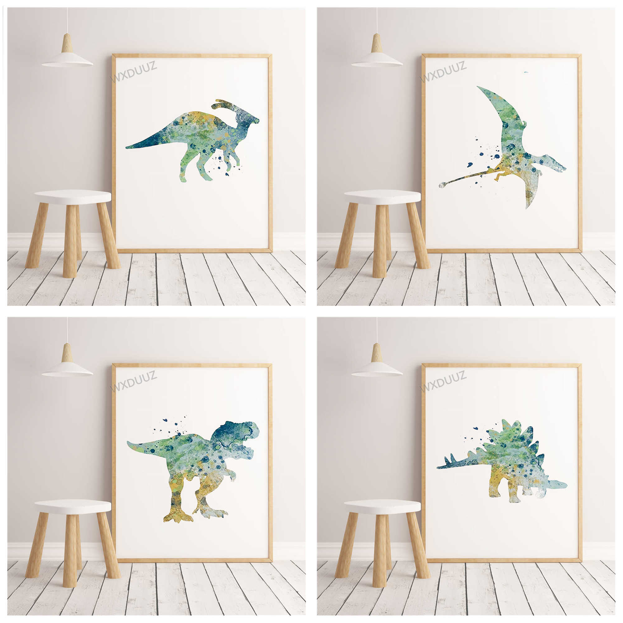 Watercolor Nordic Style Decorative Cartoon Animal Poster Dinosaur Children's Room Home Art Deco Picture canvas painting K334