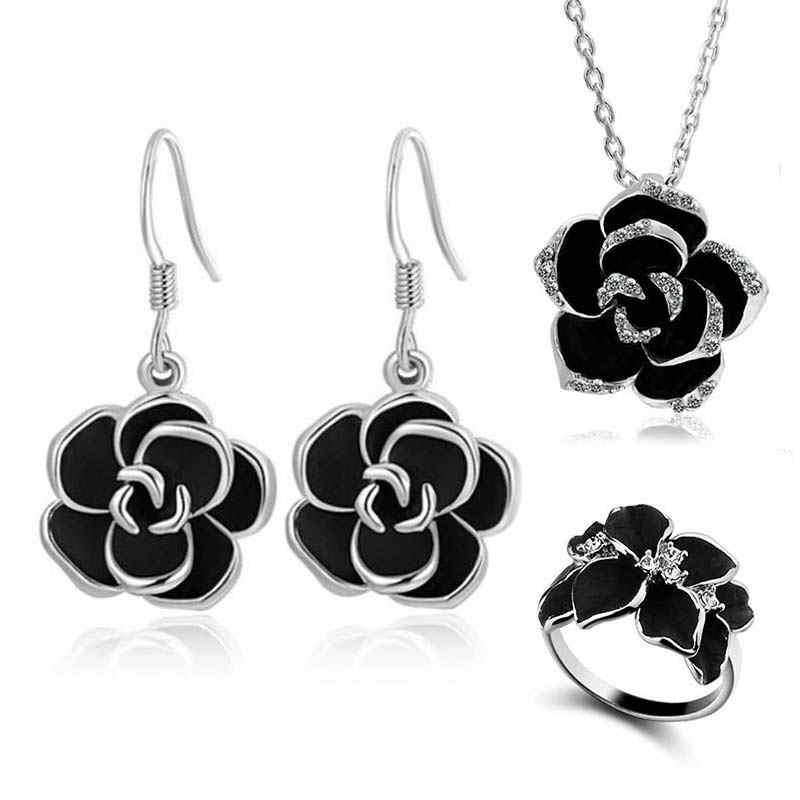 Hot Black Rose Blume Emaille Schmuck-Set Rose Gold Farbe Ohrringe Halskette Ringe Braut Schmuck Sets für Frauen Hochzeit Schmuck