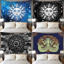 Tarot Sun Tapestry Wall Hanging Polyester Moon Pattern Tapestry Mysterious Home Decor Wall Hanging Printing Blanket Sleeping Pad