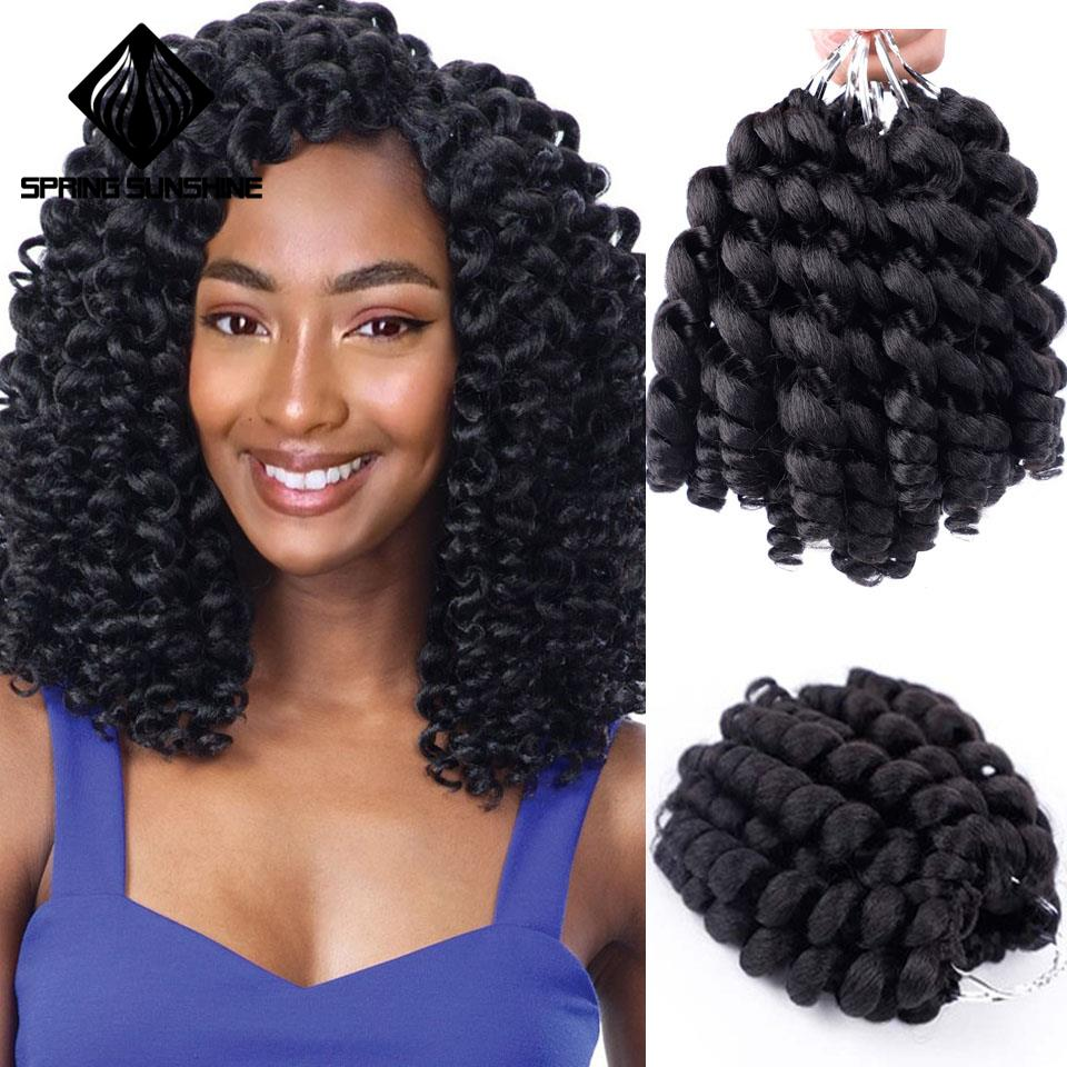 Jumpy Wand Curl Crochet Hair Ombre Jamaican Bounce Curl Braids Synthetic Braiding Hair Extension For Black Women 8