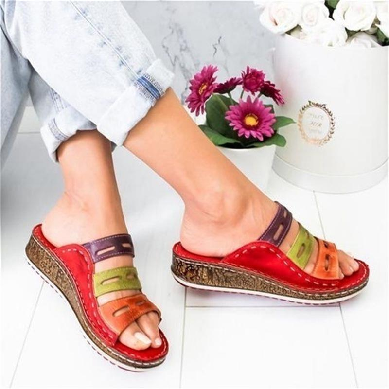 Women's Beach Slippers 2020 Summer Women Lady Retro Stitching Color Casual Beach Open Peep Toe Sandals 3 colors Shoes Slides 3