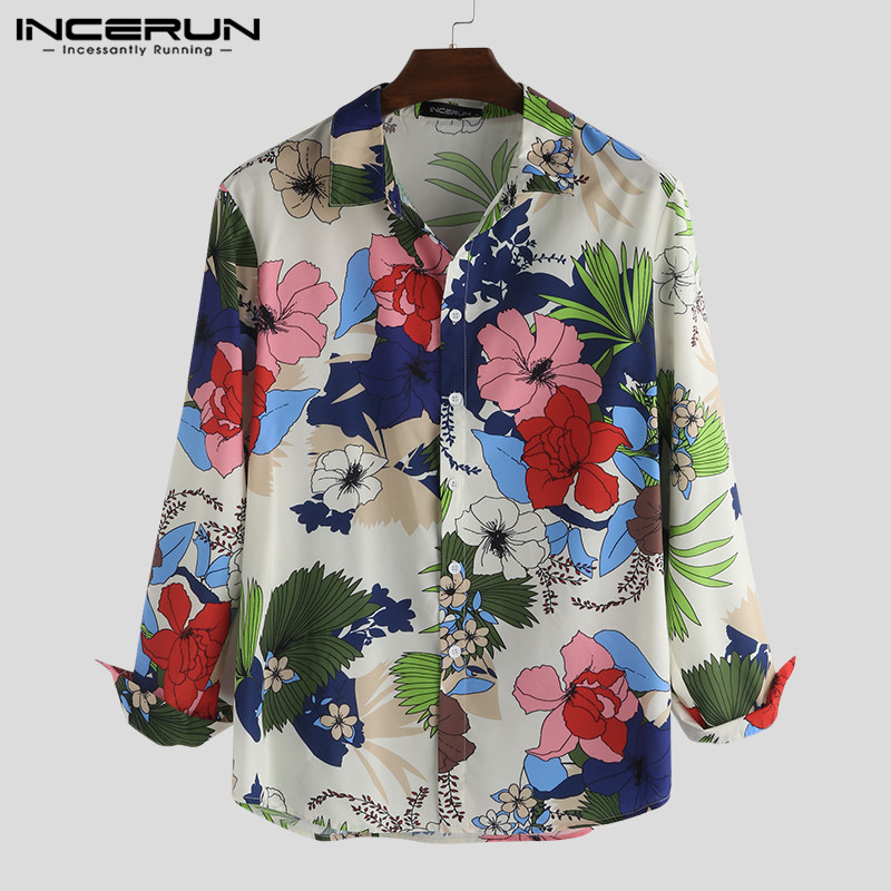 INCERUN Fashion Floral Print Men Long Sleeve Shirt Chic Turn-down Collar Vintage Casual Brand Shirts Men Camisa Masculina 2020