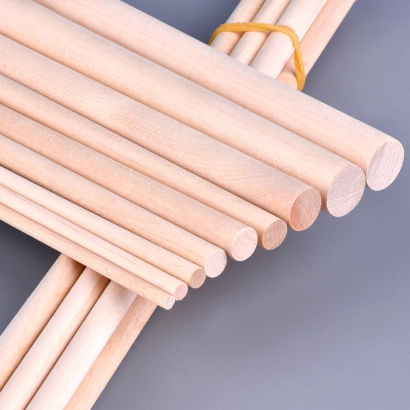 5pcs DIY Sand Plate Building Model Material Birch Wood Cylindrical Log Stick Round Rod Original Color