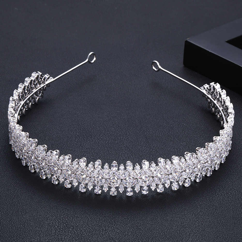 jankelly Crystal Ladies Wedding Headpieces With cube zircon Wholesale Bridal Hair Accessories Headdress Bridal Hair Tiaras