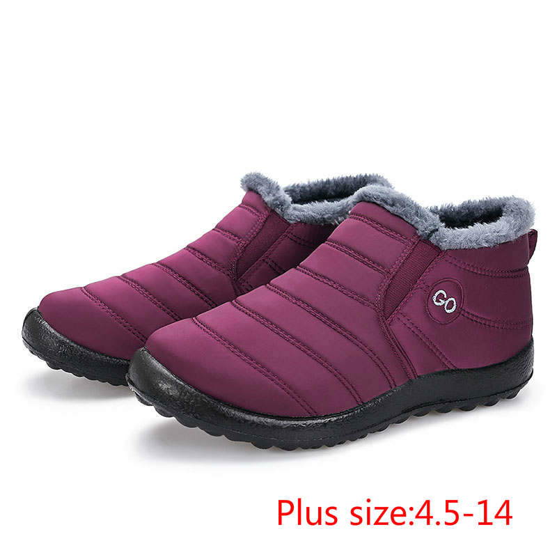 2019 keep antiskid bottom waterproof snow boots women Warm plush inside winter boots solid color women shoes ladies plus size