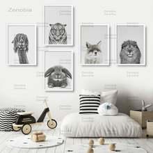 Плакат с черными и белыми животными панда Лев лиса альпака медведь