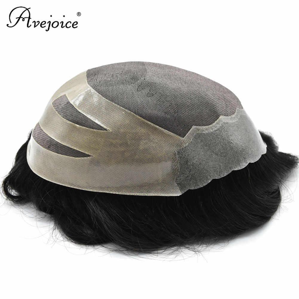 Männer Toupee indische 8A Remy Menschliches Haar Perücke Für Männer Langlebig Haar Stück MONO Mit NPU Mann Haar System Ersatz avejoice