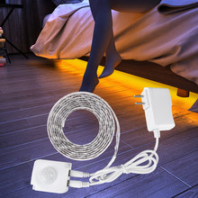 Pir Motion Sensor Led Onder Kast Licht Dc 12V Led Strip Verlichting Voor Keuken Nachtkastje Closet Night Security Lamp 1M 2M 3M 4M 5M