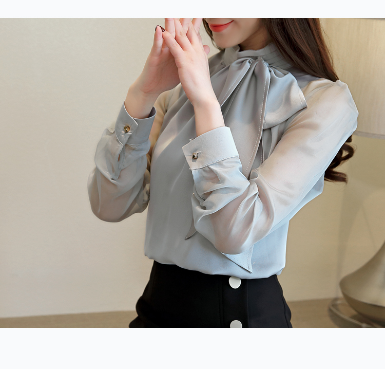 Long Sleeve Tie Bow Chiffon Turtleneck Blouse Shirt 5