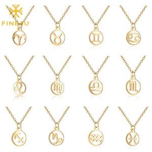 FINE4U N617 12 Constellation Zodiac Pendant Necklace Astrology Horoscope Sign Jewelry Birthday Gift for Women Girls