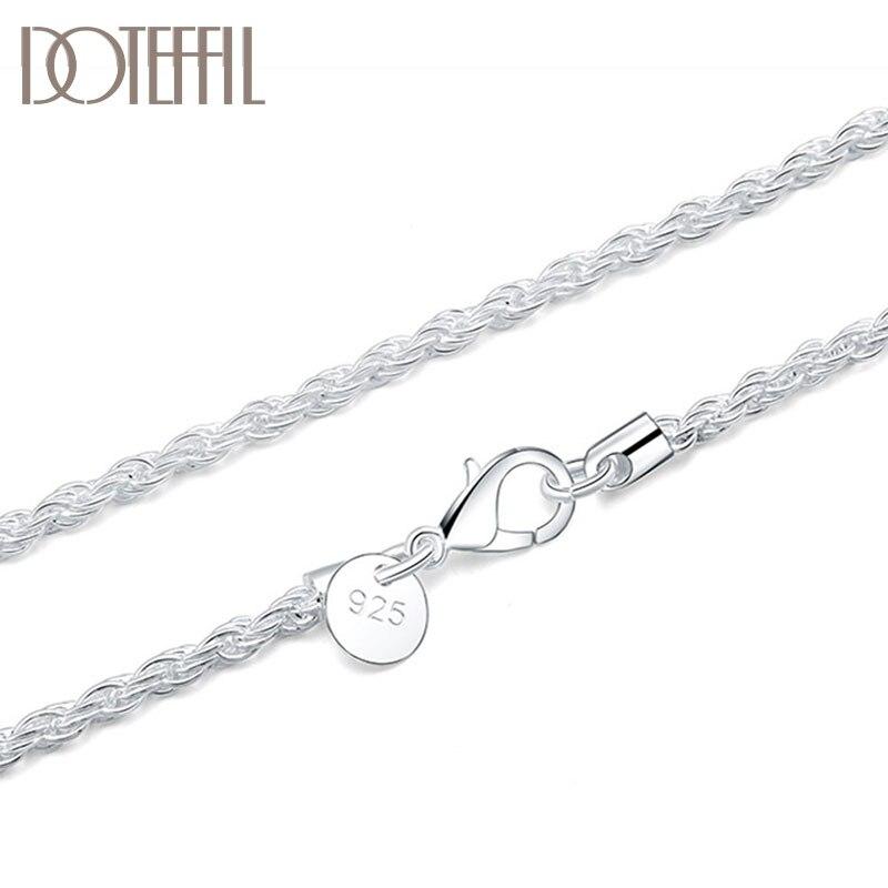 Dotefil-collar de cadena de cuerda de cáñamo para mujer, de Plata de Ley 925 de 16/18/20/22/24 pulgadas y 3mm, joyería de boda con encanto