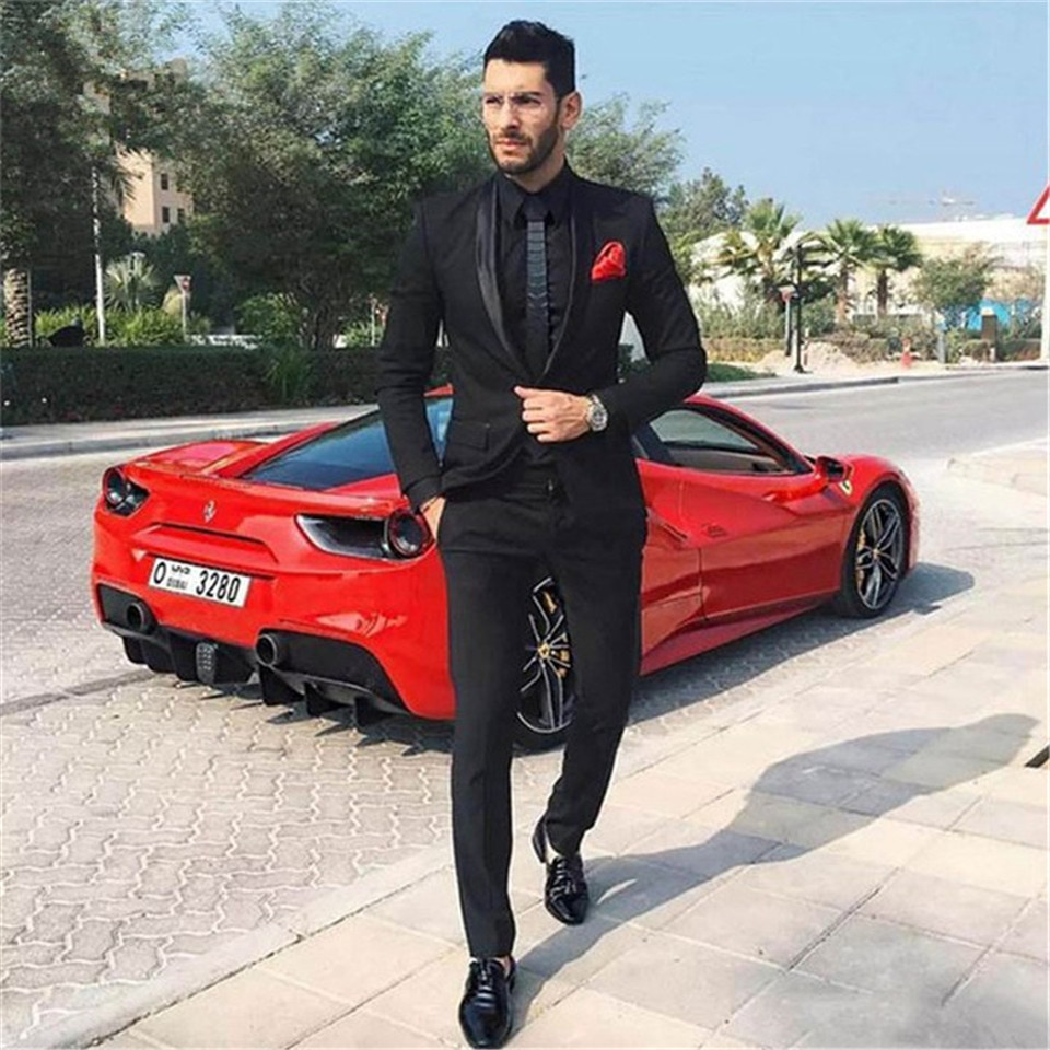 New Men's Suit Smolking Noivo Terno Slim Fit Easculino Evening Suits For Men Black Groom Tuxedo Suit Male Blazer Jacket