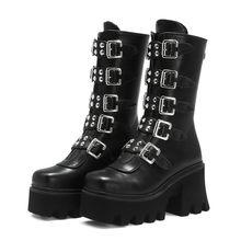 Bottes gothiques Punk d'hiver à plate-forme pour femmes, chaussures de Combat militaires à fermeture éclair avec sangle à boucle noire
