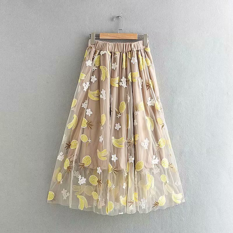 New Women Fashion Fruit Embroidery Sequins Mesh Skirt Faldas Mujer Ladies Elastci Wasit Casual Chic Skirts