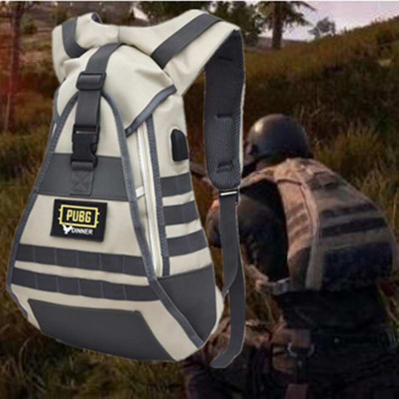 Game <font><b>PUBG</b></font> <font><b>Backpack</b></font> Cosplay Level Perfect Reduction Level <font><b>Backpack</b></font> Costumes Props 1:1 USB Connector Students Chicken School Bag image