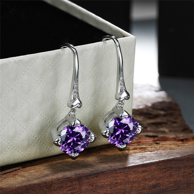Purple Crystal Round Zircon Drop Earrings For Women Wedding Jewelry Vintage Fashion Silver Color Small Heart Dangle Earring Gift