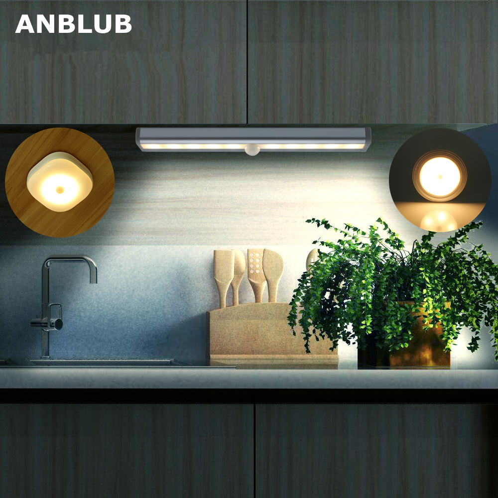 ANBLUB PIR Motion Sensor LED Under Cabinet Night Light Cupboard Wardrobe Bed Lamp For Home Closet Stairs Kitchen Hallway