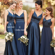 Real Rill Navy Blue V Neck Bridesmaid Dresses Spaghetti Straps Long Wedding Party Dress With Satin Skirt Or Chiffon
