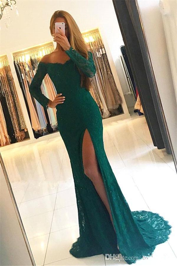 Green Prom Dress 2019 Mermaid Mermaid V-neck Long Sleeves Lace Slit Sexy Long Prom Gown Evening Dresses Robe De Soiree