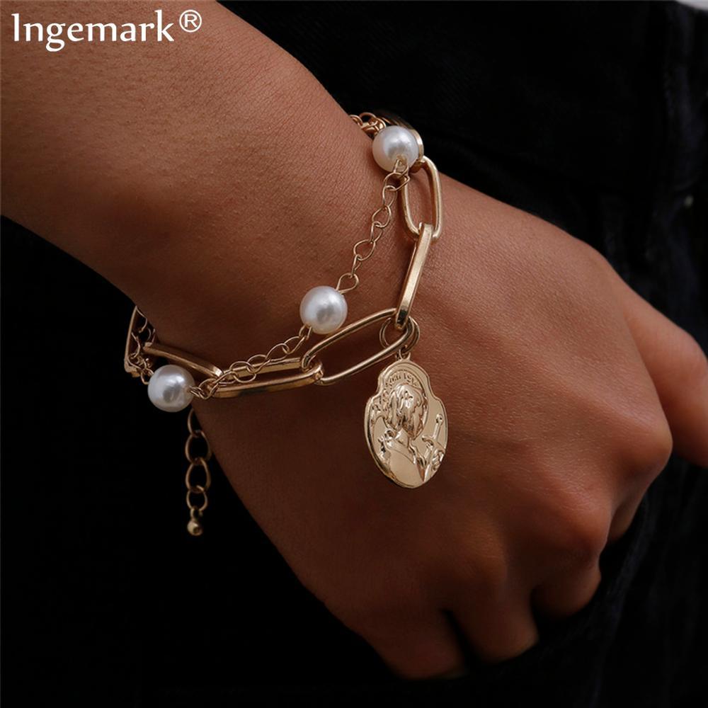 High Quality Charm Imitation Pearl Bracelet Bangle for Women Armband Steampunk Lock Chunky Chain Bracelets Friend Couple Jewelry