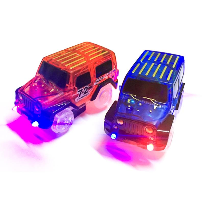 Светодиодные автомобили магический трек Электроника автомобиль Развивающие игрушки с мигающими огнями смешные DIY игрушечные машинки пода...