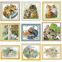 JoySunday animal cat series pattern cross stitch kit Aida 14