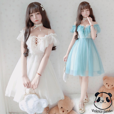Sexy Sweet Lolita Dress Thin Women Low Chest Off Shoulder V-neck Bandage Victorian Dress Kawaii Girl Princess Tea Party Loli Cos