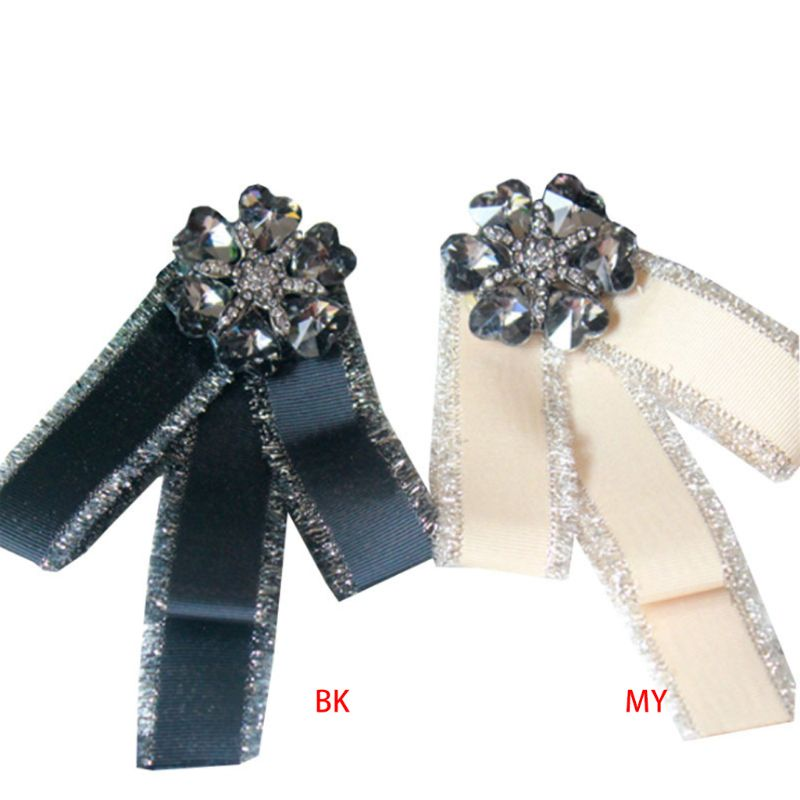 Women Shirt Ribbon Bow Tie Brooch Glitter Tinsel Sequins Faux Crystal Needle Pin Tie