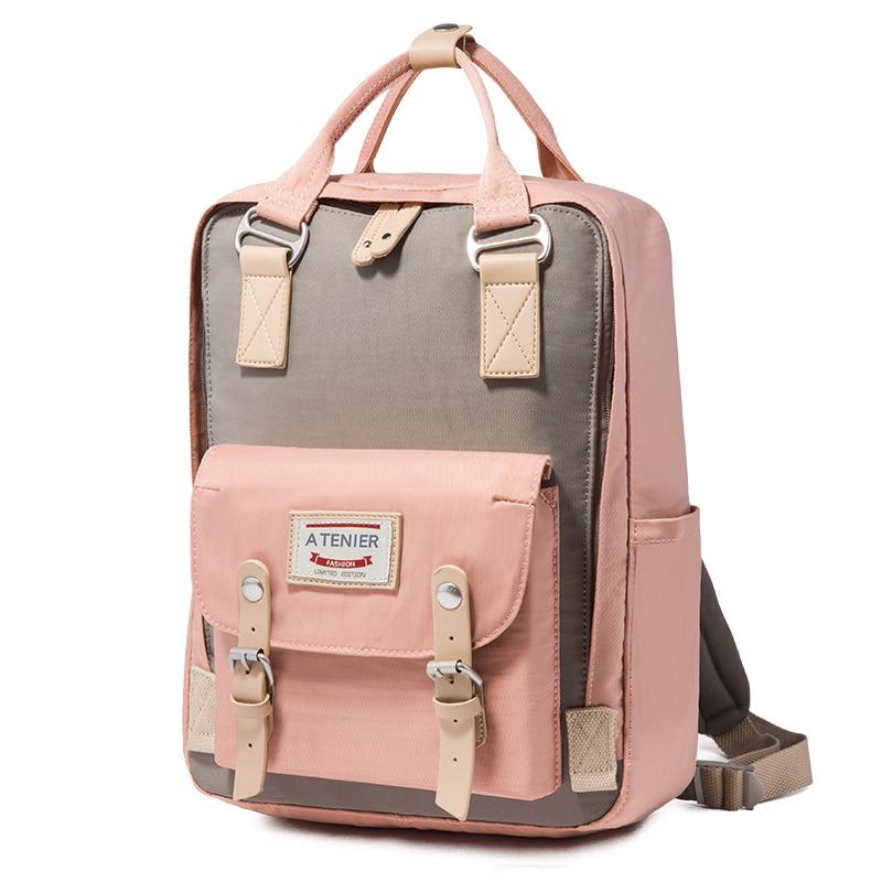 Teenager Girls Macarons Doughnut Canvas Backpack Students Candy Color Waterproof Schoolbag Casual Travel Bags Mochila Feminina