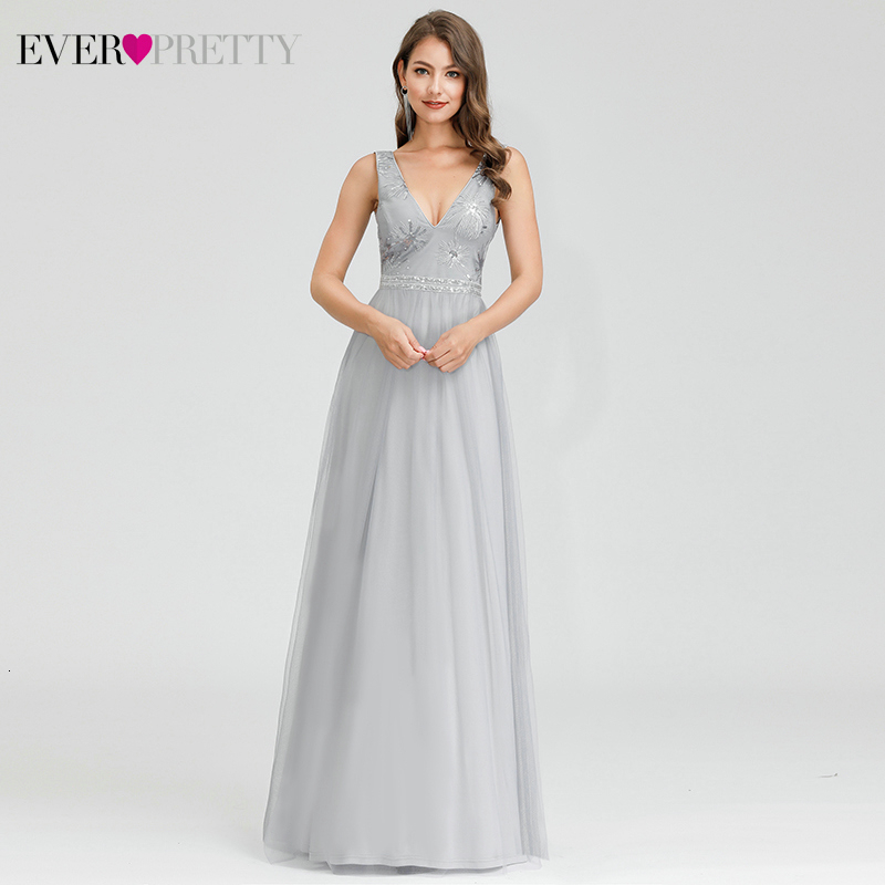 Sparkle Grey Evening Dresses Ever Pretty EP00881GY Sequined A-Line Deep V-Neck Sleeveless Elgant Evening Gowns Abendkleider 2020