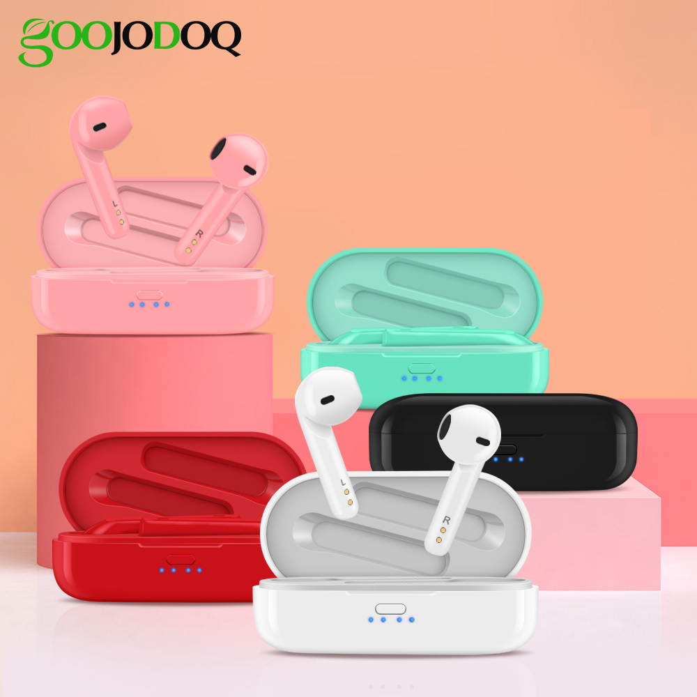 GOOJODOQ Wireless Headphone Bluetooth 5 0 Earphone Earbuds IPX5 Waterproof HiFi Sound Noise Isolating Sports Wireless Headphones