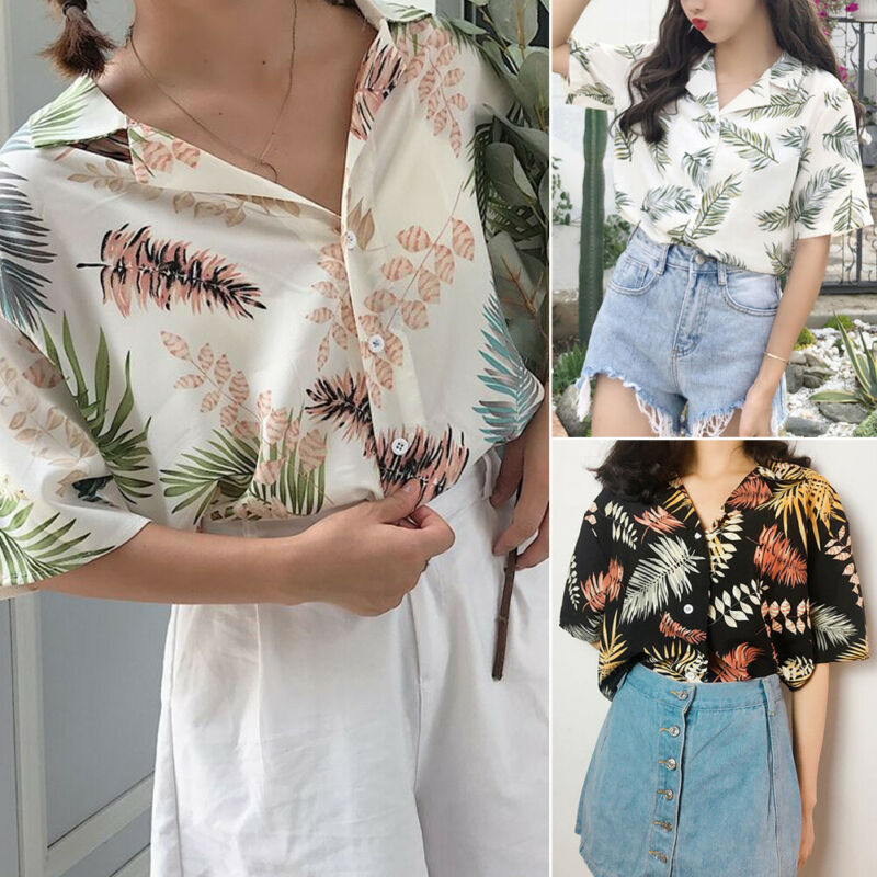Women Summer Chiffon Loose Baggy Exercise Tops Floral Button Turn-down Collar Sport Shirts One Size