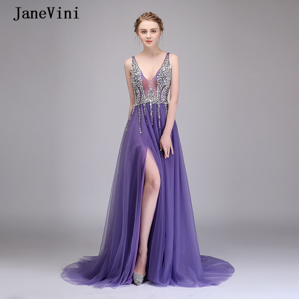JaneVini Sexy Purple Long Prom Dresses 2020 V Neck Crystal Beaded High Split Backless Tulle A Line Evening Gowns Vestido Largo