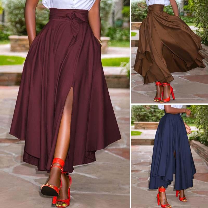 ZANZEA Fashion Irregular Skirts Holiday Zipper High Waist A Line Skirts 5XL Womens Summer Long Skirts Vintage Beach Solid Skirts 5