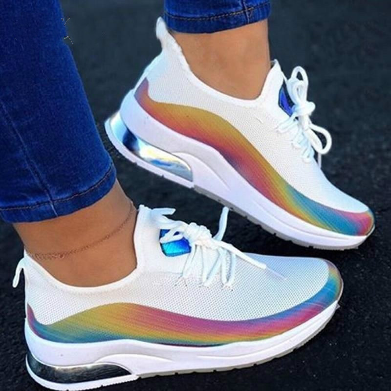 2020 Women Colorful Sneaker Casual Lace Up Comfort Mesh Female Vulcanized Shoes Autumn Fashion Flat Ladies Walking Shoes Zapatos