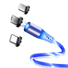 SUNPHG Flow Luminous Magnetic Cable LED Light Micro USB Cord Type C Charger for iPhone Samsung Mobile Phone Charging Wire